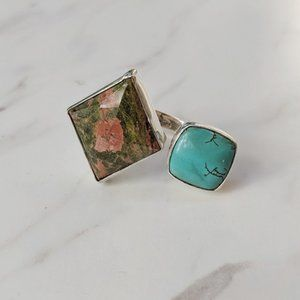 Jewelry - Unakite and Howlite Statement Sterling Silver Ring